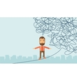 Businessman walking on rope at risk vector image