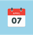 calendar day 7 april days year vector image vector image
