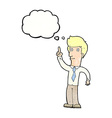 cartoon friendly man with idea with thought bubble vector image vector image