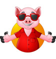 cartoon happy pig with sunglasses vector image vector image
