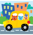 cat friends ride car on city road vector image vector image