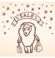 Christmas sale Merry Christmas card Funny sheep vector image