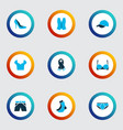 clothes icons colored set with scarf socks heel vector image vector image