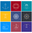 colored maritime elements in line style vector image vector image