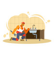 colorful of a male plumber vector image vector image