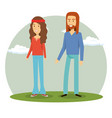 couple hippies lifestyle characters vector image vector image