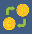 Currency exchange Euro and Tugrik vector image vector image