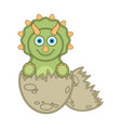 cute dinosaur on an eggshell vector image