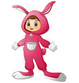 cute girl in a pink bunny costume vector image vector image