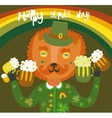 Cute StPatricks day background with cat vector image vector image