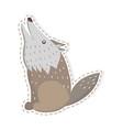 cute wolf cartoon flat sticker or icon vector image