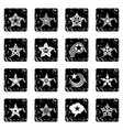 decorative stars icons set grunge vector image