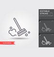 dust brush line icon with editable stroke vector image