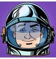 emoticon wink Emoji face man astronaut retro vector image vector image