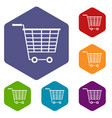 empty supermarket cart with plastic handles icons vector image vector image