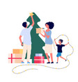 family decorates christmas tree smiling mom dad vector image