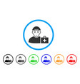 first aid man rounded icon vector image vector image
