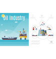 flat oil industry composition vector image vector image