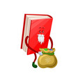 funny humanized santa claus book character with vector image
