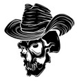 gangster skull tattoo death head with cigar and vector image vector image