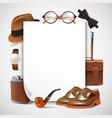 gentleman accessories realistic frame vector image vector image