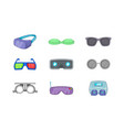 glasses icon set cartoon style vector image vector image