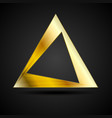 Golden triangle logo element on black background vector image
