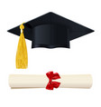 graduate cap with a diploma in the scroll vector image vector image