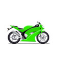 green sports motorbike flat isolated on vector image vector image