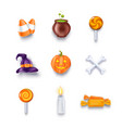 halloween objects and design elements icons set vector image
