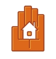 Icon of a house in the palm of a hand vector image