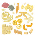 italian pasta food set icon vector image vector image
