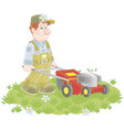 lawn-mower at work vector image