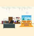 living room and office interior flat design relax vector image vector image