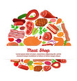 meat set with vegetablescartoon flat style vector image vector image