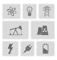 monochrome set with energy and power icons vector image
