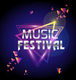music festival triangle frame purple background ve vector image