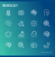 neurology thin line icons set vector image
