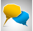 paper bubbles yellow blue vector image vector image