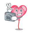 photographer ballon heart mascot cartoon vector image