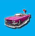 pink cadillac car with a heart-shaped balloon vector image vector image
