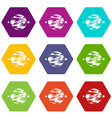 planet and moons icon set color hexahedron vector image vector image