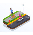 running and cycling concept vector image vector image