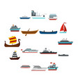 sea transport set flat icons vector image vector image