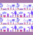 seamless neon texture with cartoon home flowers in vector image vector image