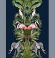 seamless pattern with tropical animals in jungle vector image vector image