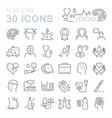 set flat line icons stroke vector image