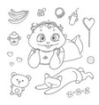set joyful child and sleeping kitten baby vector image