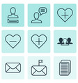 set of 9 social icons includes talking person vector image vector image