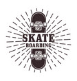 skateboarding stamp or label with rays vector image
